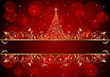 Christmas background with golden frame. Abstract background with golden frame and Christmas tree, illustration Royalty Free Stock Photo