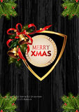 Christmas background with golden frame and holiday decoration elements Stock Image