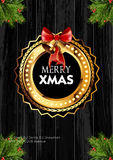 Christmas background with golden frame and holiday decoration elements Royalty Free Stock Photos