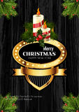 Christmas background with golden frame and holiday decoration elements Royalty Free Stock Image