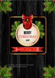 Christmas background with golden frame and holiday decoration elements Stock Photos