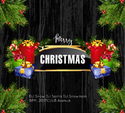 Christmas background with golden frame and holiday decoration elements Royalty Free Stock Photography