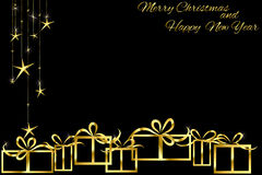 Christmas background with golden gift. On black Royalty Free Stock Image