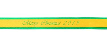 Christmas background.Golden and green ribbon border. Christmas background.Golden ribbon and green border isolated on white background royalty free stock photo