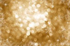 Christmas Background. Golden Holiday Abstract Glitter Defocused Background With Blinking Stars. Blurred Bokeh vector illustration