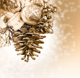 Christmas background with golden knob Royalty Free Stock Photo