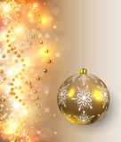 Christmas background. With golden lights, balls and magic sparkles, vector illustration Stock Image