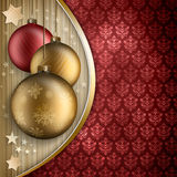 Christmas background - golden and red baubles Stock Photography