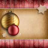 Christmas background - golden and red baubles. Stars and snowflakes Stock Photography
