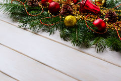 Christmas background with golden and red ornaments Royalty Free Stock Image