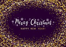 Christmas background with golden frame. Christmas background with golden round frame stock illustration