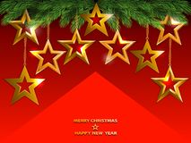 Christmas background with golden shine stars on fir tree branche. Christmas background with golden stars on fir tree branches. Vector illustration Stock Images