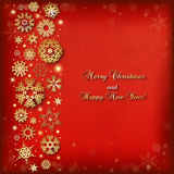 Christmas background with golden snowflakes and lights Stock Photo