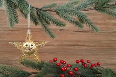 Christmas background with golden star Royalty Free Stock Image