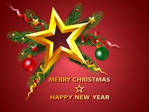 Christmas background with golden star on fir tree branches and d. Ecoration. Vector illustration Stock Photography