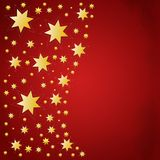 Christmas background with golden stars. Red christmas background with golden stars stock illustration