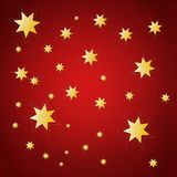 Christmas background with golden stars. Red christmas background with golden stars vector illustration