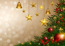 Christmas background with golden stars and bells. Illustration stock illustration