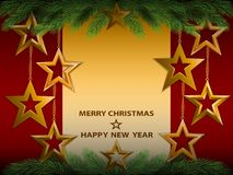Christmas background with golden stars on fir tree branches. Vector illustration Stock Image