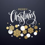 Christmas background with golden and white paper snowflakes on black  Stock Photos
