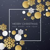 Christmas background with golden and white paper snowflakes on black.  Stock Photo