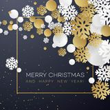 Christmas background with golden and white paper snowflakes on black.  Stock Photography