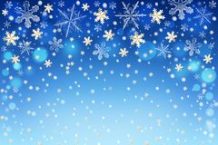 Christmas background with golden and white snowflakes Royalty Free Stock Photography