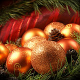 Christmas background with golding balls Royalty Free Stock Photos