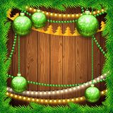 Christmas Background with Green Balls Stock Images