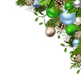 Christmas background with green, blue and silver decorations. Vector illustration. Stock Photography