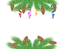 Christmas background with green branches, cones and serpentine Stock Images