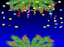 Christmas background with green branches, cones and serpentine Royalty Free Stock Photography