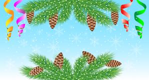 Christmas background with green branches, cones and serpentine Stock Image
