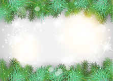 Christmas background with green branches and sparkles Royalty Free Stock Photography