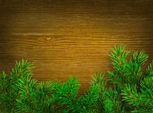 Christmas background. Green branches of spruce on dark wood background. Place for text Stock Photography