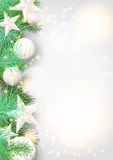 Christmas background with green branches and white ornaments. Christmas background with green branches and white baubles and stars, vector illustration, eps 10 Stock Image