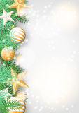 Christmas background with green branches and yellow ornaments. Christmas background with green branches and yellow baubles and stars, vector illustration, eps 10 Stock Photo