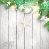 Christmas background with green branches and yellow ornaments royalty free illustration