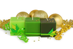 Christmas background - green candles and boubles Royalty Free Stock Photo