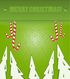 Christmas background green color. Christmas forest on green background Vector Illustration