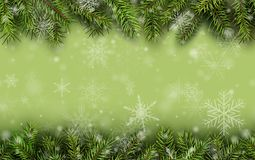 Christmas background green fir tree. Branches and snow, vector illustration Royalty Free Stock Photo