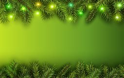 Christmas background green fir tree. Branches and lights, vector illustration Stock Image