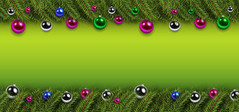 Christmas background with green fir tree. Christmas background with green pine tree and shiny glass balls, vector Christmas decorations Stock Photo