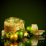 Christmas background with green and golden balls. Vector illustration Stock Illustration