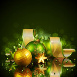 Christmas background with green and golden balls. Vector illustration Stock Photography