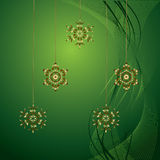 Christmas background. Christmas green and golden background with snowflakes Stock Photography