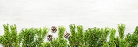 Christmas background, green pine branches, cones decorated with snow on white wooden table. Creative composition with border and c stock images