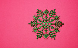 Christmas background with green snowflake Stock Images