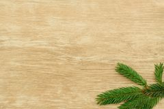 Christmas background. Spruce branches on a wooden surface royalty free stock photo