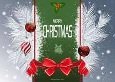 Christmas Background with Green Strip and Branches royalty free illustration